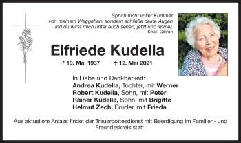 Traueranzeige von Elfriede Kudella von ovb