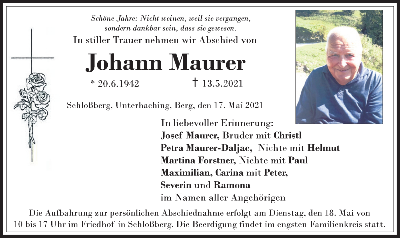 Traueranzeige für Johann Maurer vom 17.05.2021 aus ovb