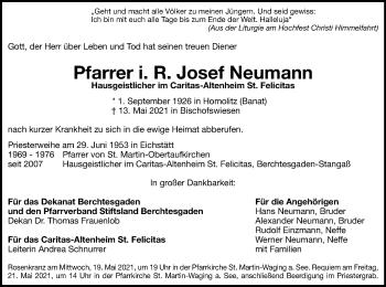 Traueranzeige von Josef Neumann von ovb