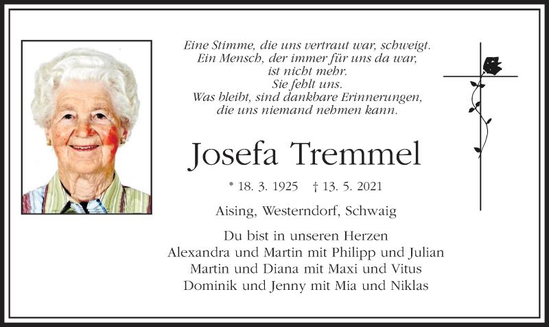 Traueranzeige für Josefa Tremmel vom 15.05.2021 aus ovb