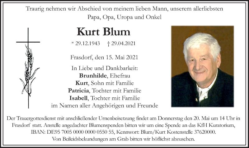 Traueranzeige für Kurt Blum vom 15.05.2021 aus ovb