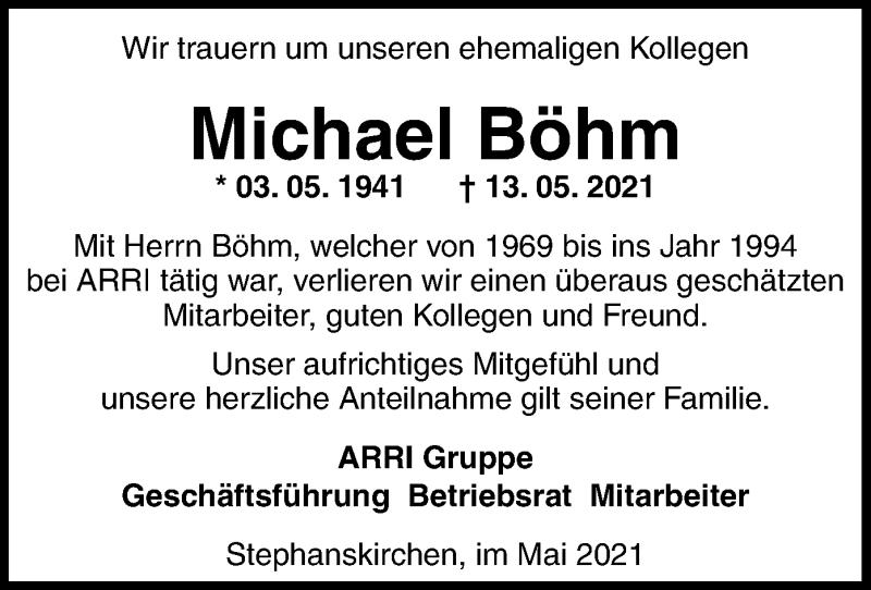 Traueranzeige für Michael Böhm vom 29.05.2021 aus ovb