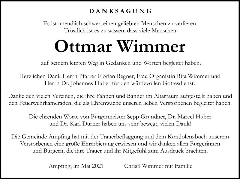 Traueranzeige für Ottmar Wimmer vom 14.05.2021 aus ovb