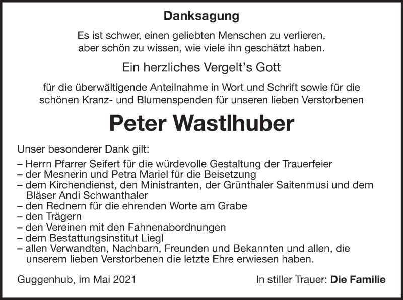 Traueranzeige für Peter Wastlhuber vom 22.05.2021 aus ovb