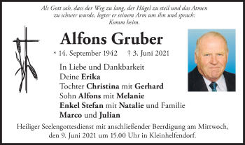 Traueranzeige von Alfons Gruber von ovb