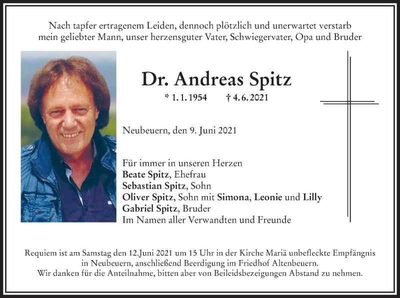 Traueranzeige für Andreas Spitz vom 09.06.2021 aus ovb