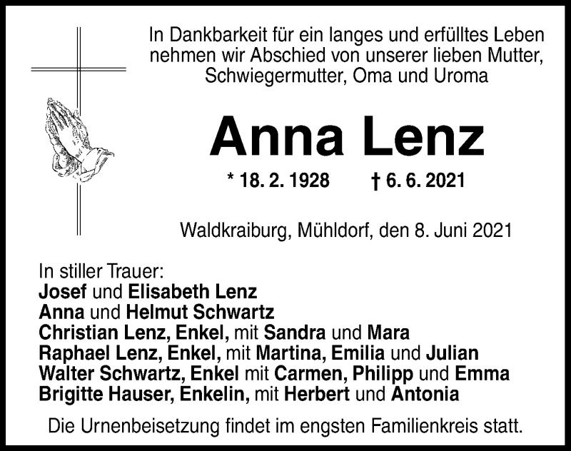 Traueranzeige für Anna Lenz vom 08.06.2021 aus ovb