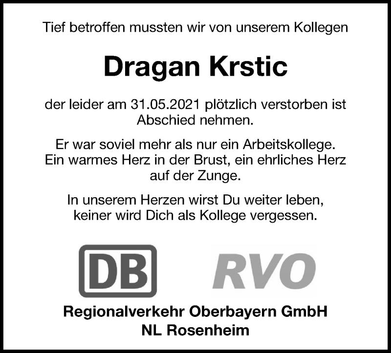 Traueranzeige für Dragan Krstic vom 09.06.2021 aus ovb