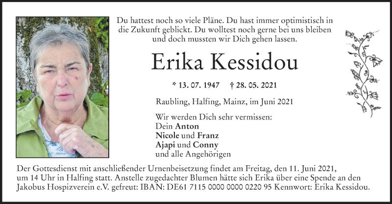 Traueranzeige für Erika Kessidou vom 08.06.2021 aus ovb