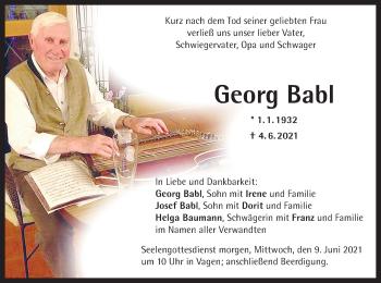 Traueranzeige von Georg Babl von ovb