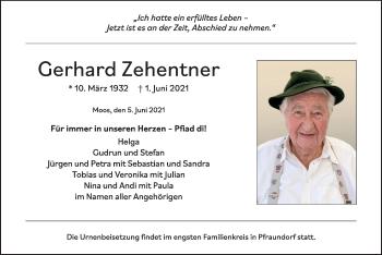 Traueranzeige von Gerhard Zehentner von ovb