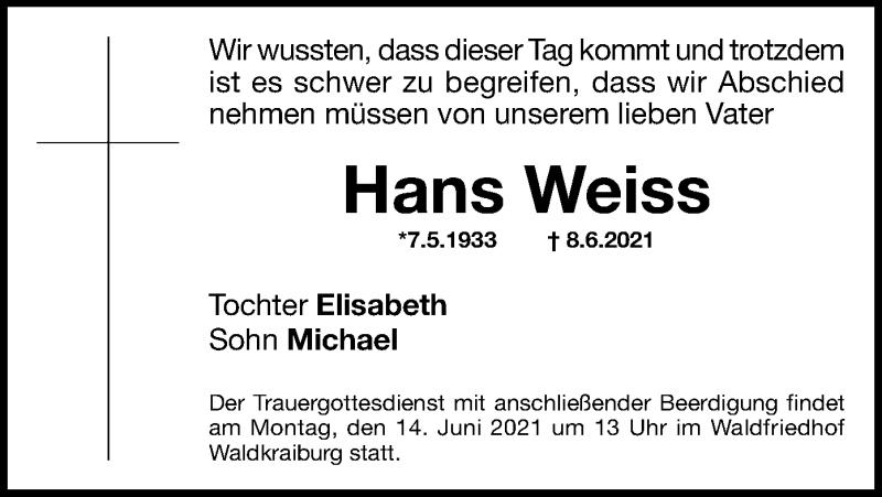 Traueranzeige für Hans Weiss vom 11.06.2021 aus ovb