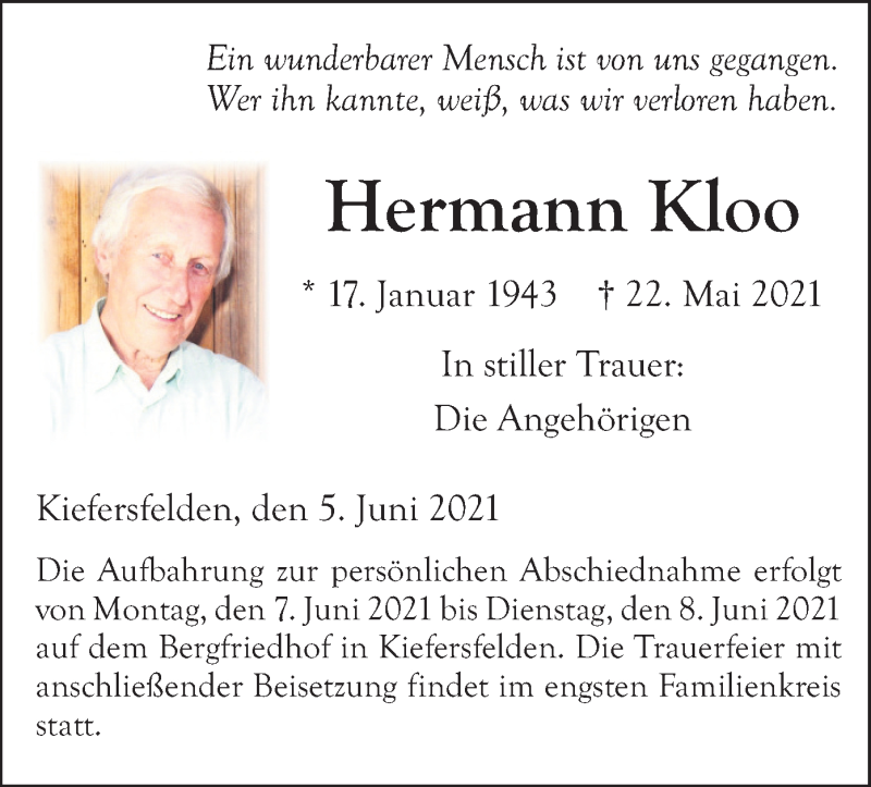 Traueranzeige für Hermann Kloo vom 05.06.2021 aus ovb