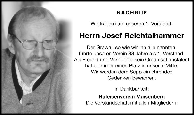 Traueranzeige für Josef Reichtalhammer vom 08.06.2021 aus ovb