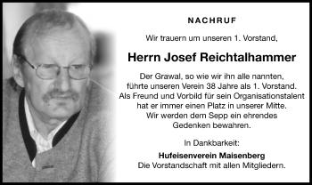 Traueranzeige von Josef Reichtalhammer von ovb