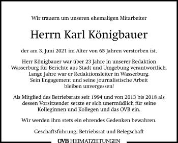 Traueranzeige von Karl Königbauer von ovb