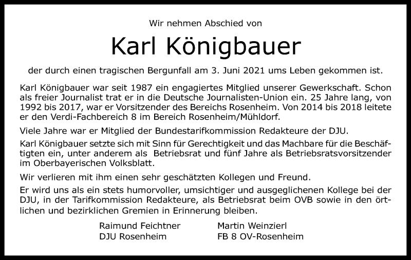 Traueranzeige für Karl Königbauer vom 08.06.2021 aus ovb