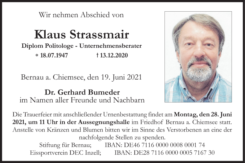 Traueranzeige für Klaus Strassmair vom 19.06.2021 aus ovb
