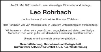 Traueranzeige von Leo Rohrbach von ovb