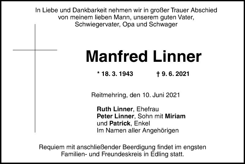 Traueranzeige für Manfred Linner vom 10.06.2021 aus ovb