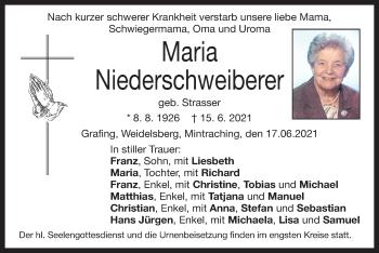 Traueranzeige von Maria Niederschweiberer von ovb