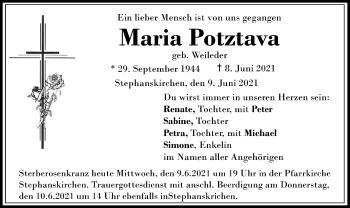Traueranzeige von Maria Potztava von ovb