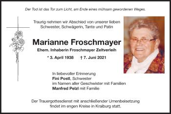 Traueranzeige von Marianne Froschmayer von ovb