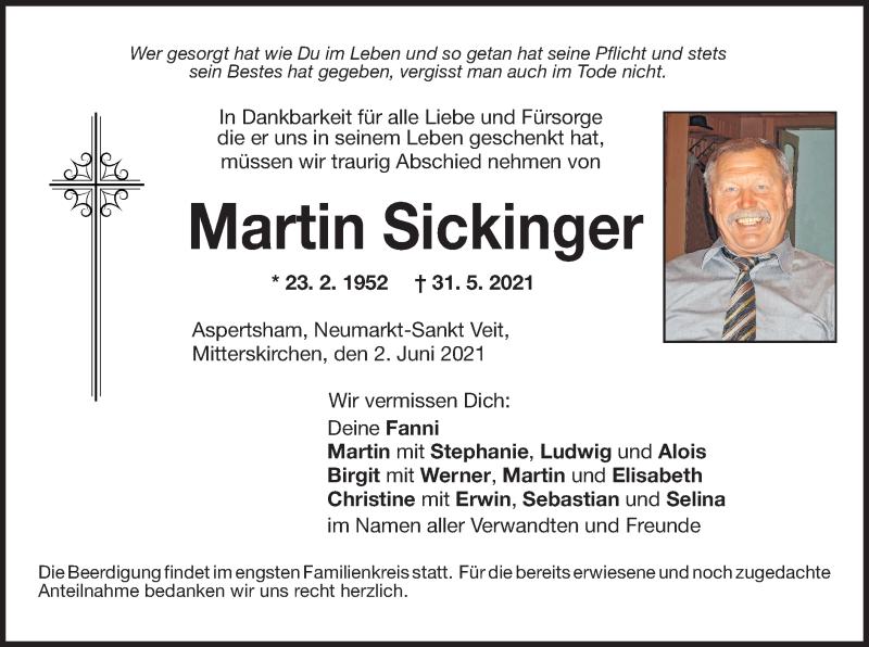 Traueranzeige für Martin Sickinger vom 02.06.2021 aus ovb