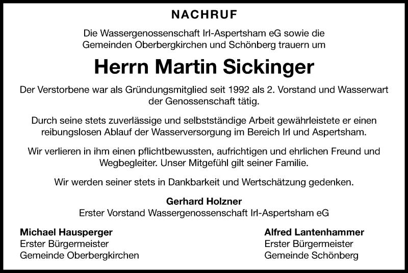 Traueranzeige für Martin Sickinger vom 05.06.2021 aus ovb