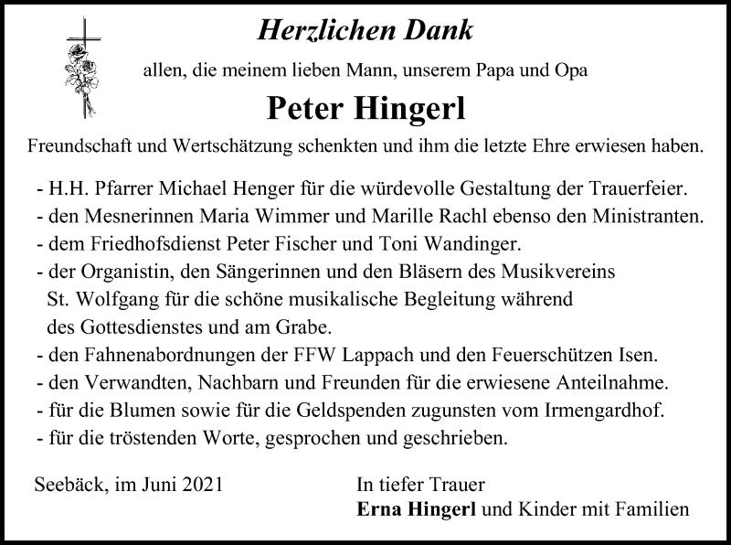 Traueranzeige für Peter Hingerl vom 02.06.2021 aus ovb