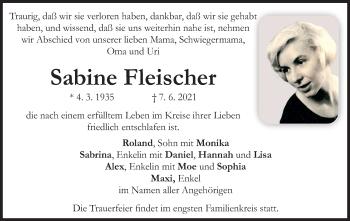 Traueranzeige von Sabine Fleischer von ovb