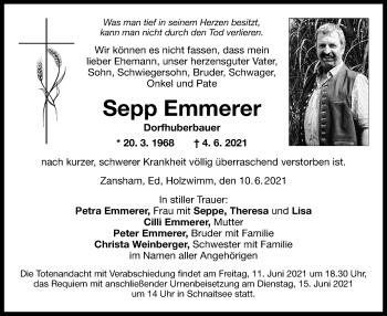 Traueranzeige von Sepp Emmerer von ovb
