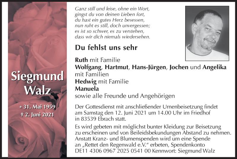 Traueranzeige für Siegmund Walz vom 09.06.2021 aus ovb