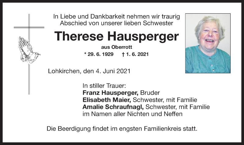 Traueranzeige für Therese Hausperger vom 04.06.2021 aus ovb