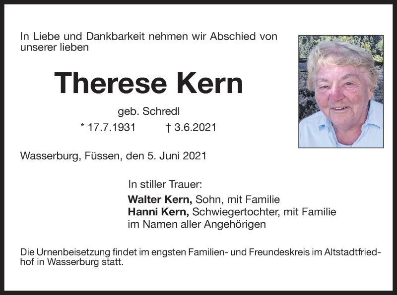 Traueranzeige für Therese Kern vom 05.06.2021 aus ovb