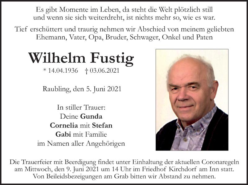 Traueranzeige für Wilhelm Fustig vom 05.06.2021 aus ovb