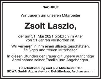 Traueranzeige von Zsolt Laszlo von ovb