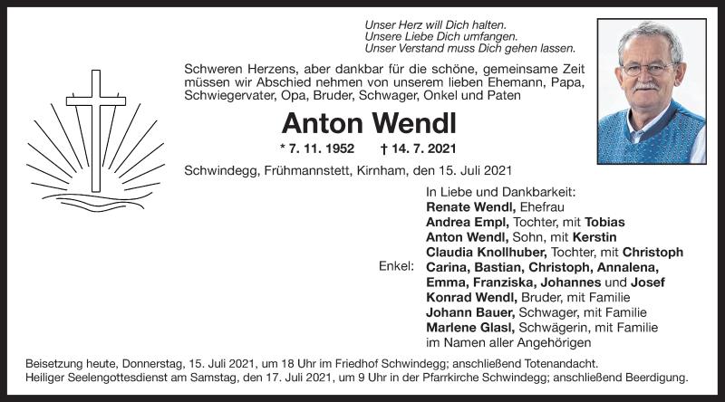 Traueranzeige für Anton Wendl vom 15.07.2021 aus ovb