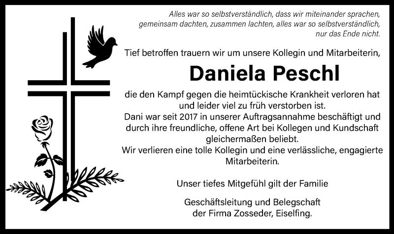 Traueranzeige für Daniela Peschl vom 15.07.2021 aus ovb