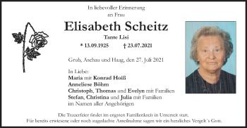 Traueranzeige von Elisabeth Scheitz von ovb