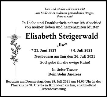 Traueranzeige von Elisabeth Steigerwald von ovb