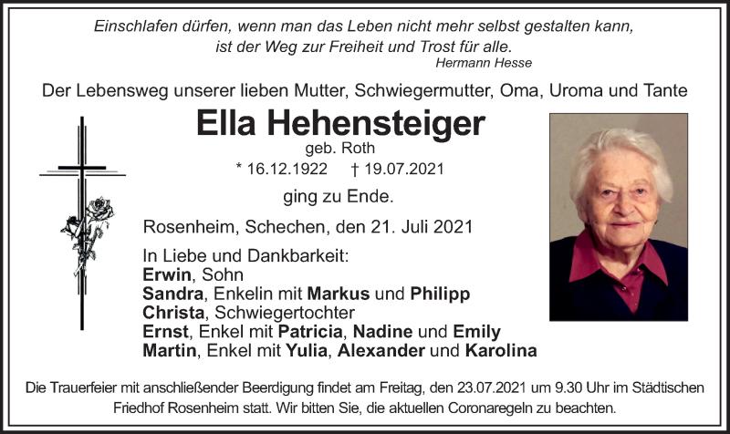 Traueranzeige für Ella Hehensteiger vom 21.07.2021 aus ovb