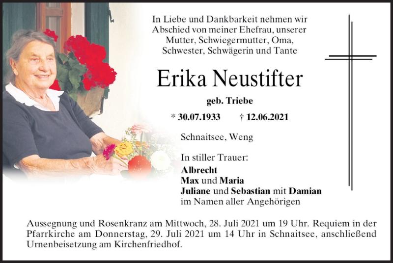 Traueranzeige für Erika Neustifter vom 27.07.2021 aus ovb