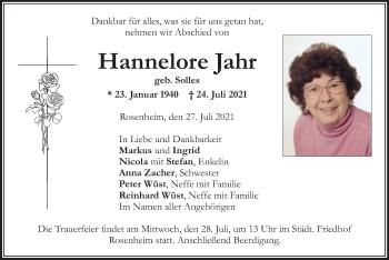 Traueranzeige von Hannelore Jahr von ovb