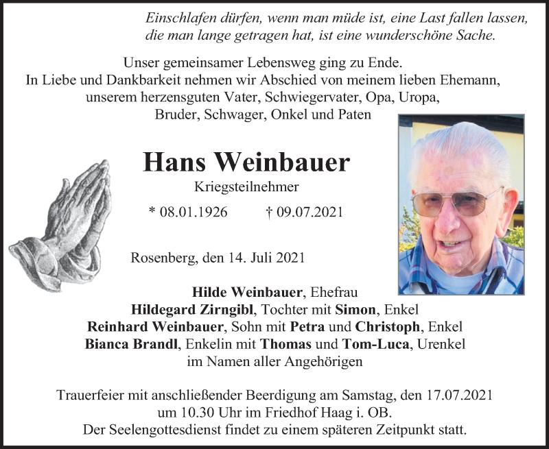 Traueranzeige für Hans Weinbauer vom 14.07.2021 aus ovb