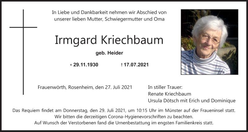 Traueranzeige für Irmgard Kriechbaum vom 27.07.2021 aus ovb