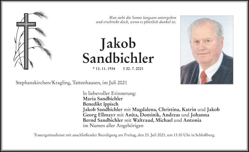 Traueranzeige für Jakob Sandbichler vom 22.07.2021 aus ovb