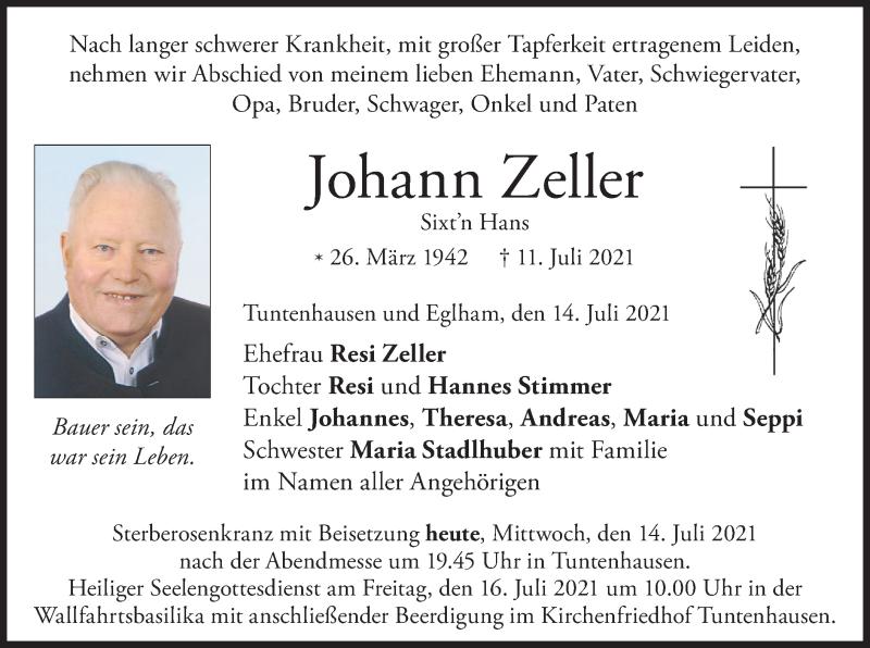 Traueranzeige für Johann Zeller vom 14.07.2021 aus ovb
