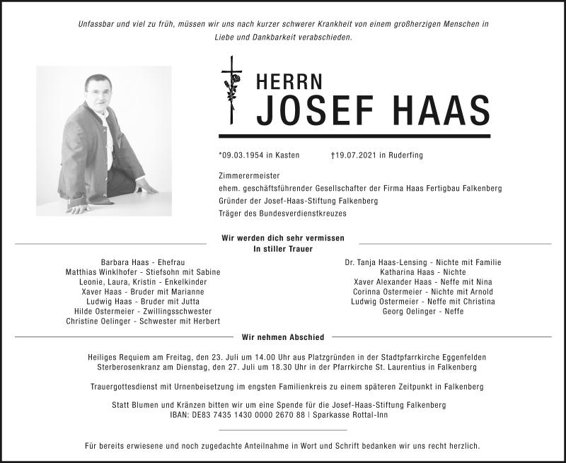 Traueranzeige für Josef Haas vom 22.07.2021 aus ovb