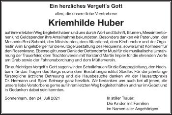 Traueranzeige von Kriemhilde Huber von ovb